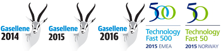 Gazelle 2014, Gazelle 2015, Gazelle 2016, Techonology Fast 500 2016 EMEA, Techonology Fast 50 2015 Norway